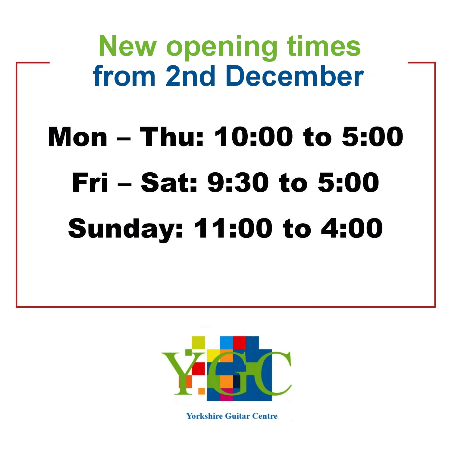 December Opening Times